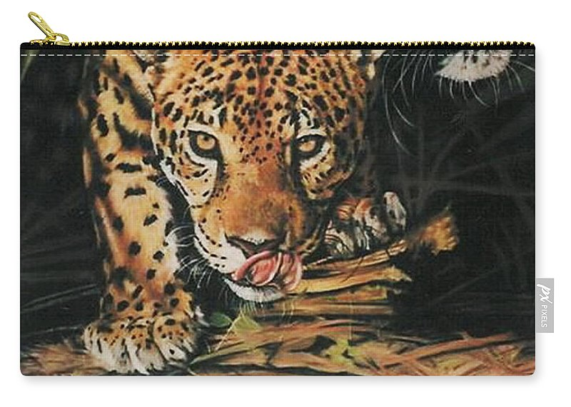 Jaguar Carry-all Pouch featuring the pastel Forest Jewels by Barbara Keith
