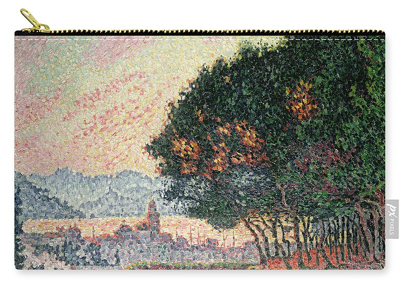 Pointillism Carry-all Pouch featuring the painting Forest Near St Tropez by Paul Signac