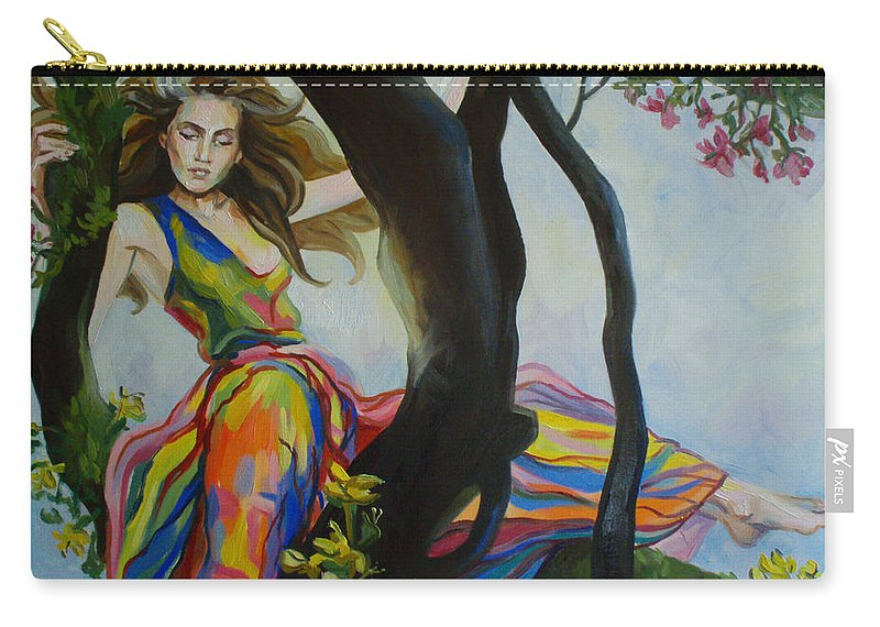 Woman Carry-all Pouch featuring the painting Forest Nymph by Ekaterina Bortsova