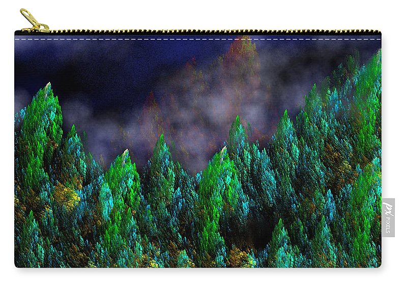 Abstract Digital Painting Carry-all Pouch featuring the digital art Forest Primeval by David Lane