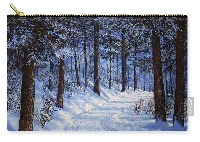 Landscape Carry-all Pouch featuring the painting Forest Road by Frank Wilson