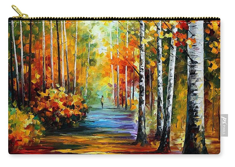 Afremov Carry-all Pouch featuring the painting Forest Road by Leonid Afremov