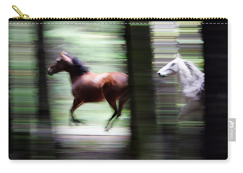 Mustang Carry-all Pouch featuring the photograph Forest Run by Randall Ingalls