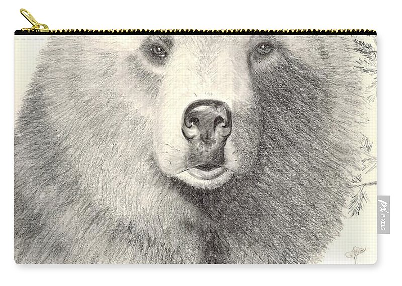 Grizzle Bear Carry-all Pouch featuring the drawing Forest Sentry by Joette Snyder