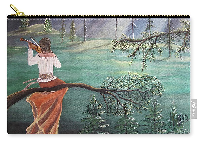 Violin Carry-all Pouch featuring the painting Forest Serenade by Kris Crollard