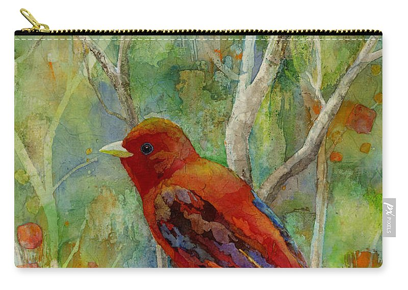 Redbird Carry-all Pouch featuring the painting Forest Serenity by Hailey E Herrera