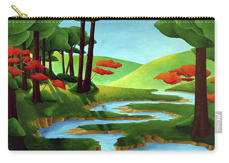 Landscape Carry-all Pouch featuring the painting Forest Stream - Through The Forest Series by Richard Hoedl