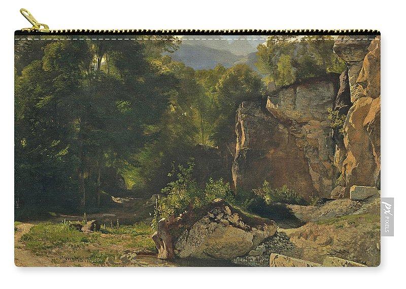 Johann Gottfried Steffan Carry-all Pouch featuring the painting Forest Track. 1855 by Johann Gottfried Steffan