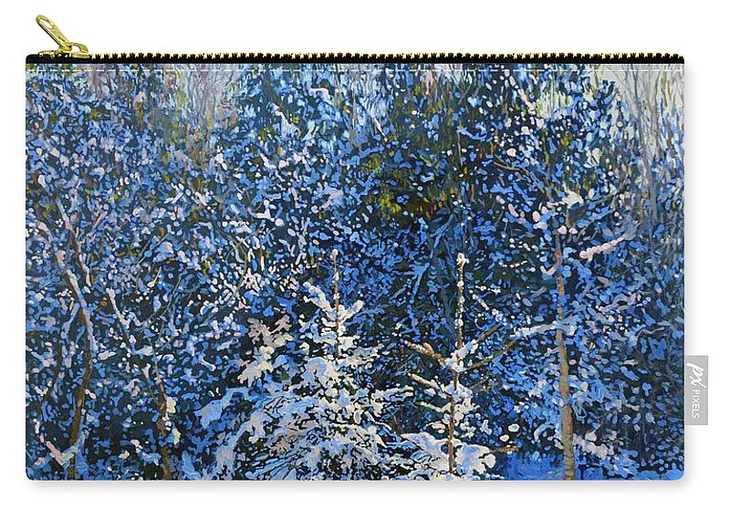 Winter Carry-all Pouch featuring the painting Forest's Fairy-tale. by Simon Kozhin