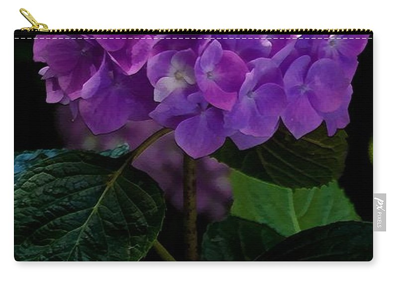 Floral Carry-all Pouch featuring the mixed media Forever Violet by Georgiana Romanovna