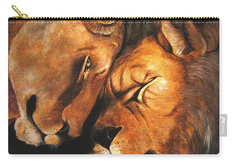 Lion Carry-all Pouch featuring the painting Forgiven by Glory Fraulein Wolfe