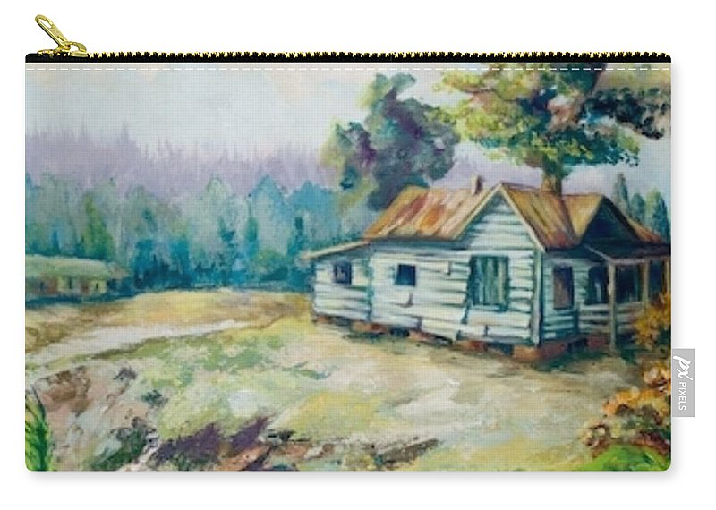 Old Houses Carry-all Pouch featuring the painting Forgotten Places II by Elisabeta Hermann