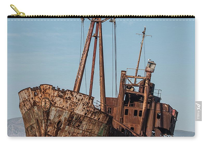 Ship Carry-all Pouch featuring the photograph Forgotten Ship Wreck by Jaroslaw Blaminsky