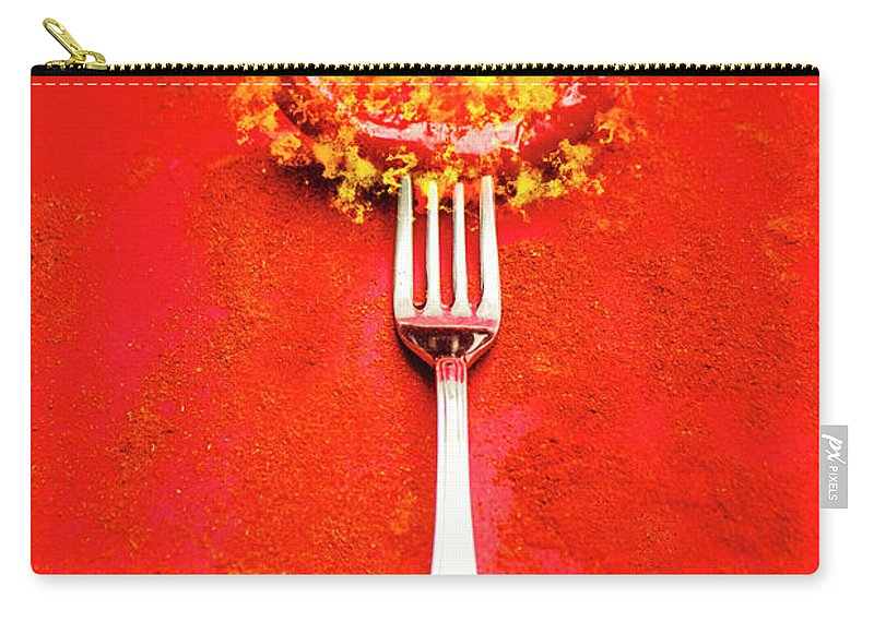 Food Carry-all Pouch featuring the digital art Forking Hot Food by Jorgo Photography - Wall Art Gallery