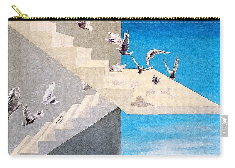 Birds Carry-all Pouch featuring the painting Form Without Function by Steve Karol