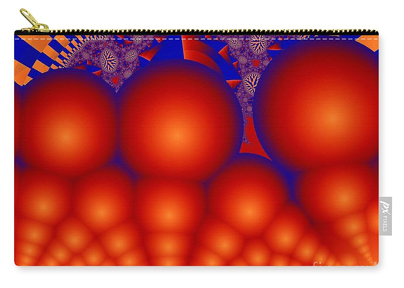 Fractal Image Carry-all Pouch featuring the digital art Formation Of Red Orbs by Ron Bissett