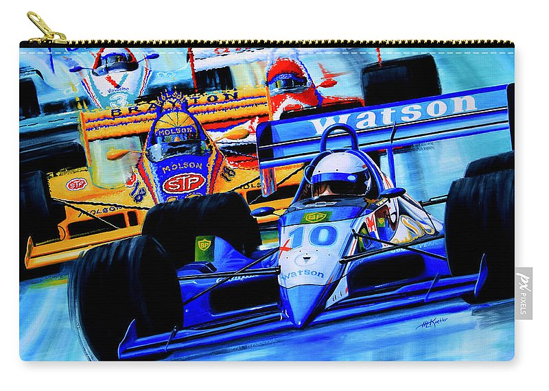 Formula 1 Race Painting Carry-all Pouch featuring the painting Formula 1 Race by Hanne Lore Koehler