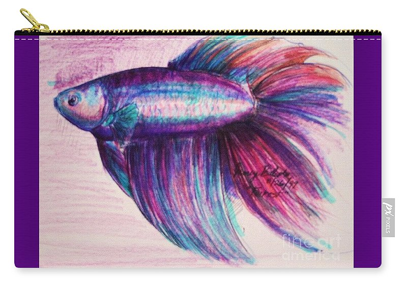 Fish Carry-all Pouch featuring the drawing Forrest The Betta by Jamey Balester