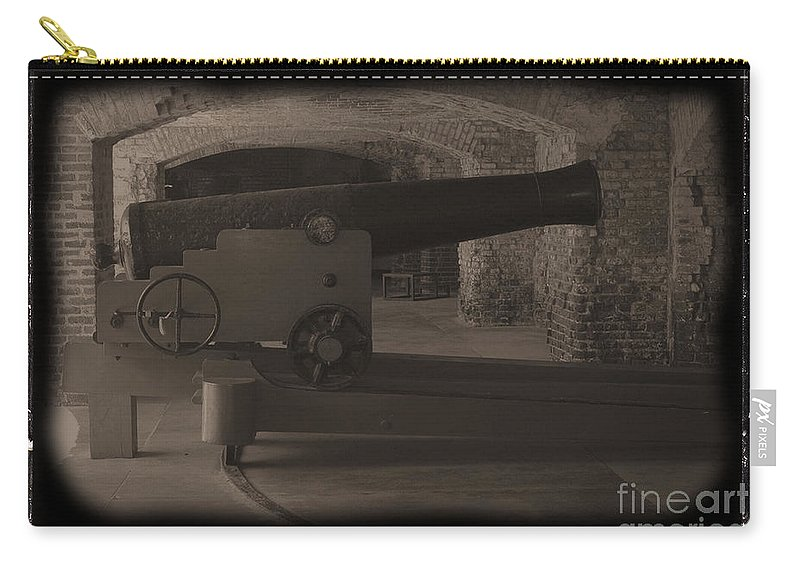 Fort Sumpter Carry-all Pouch featuring the photograph Fort Sumpter Cannon by Tommy Anderson