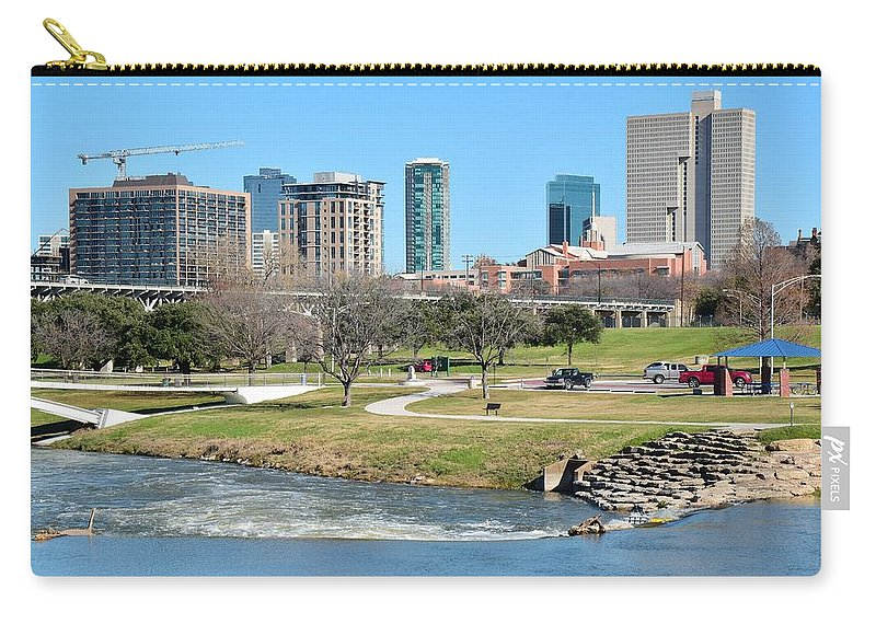 Fort Carry-all Pouch featuring the photograph Fort Worth Trinity Park by Frozen in Time Fine Art Photography