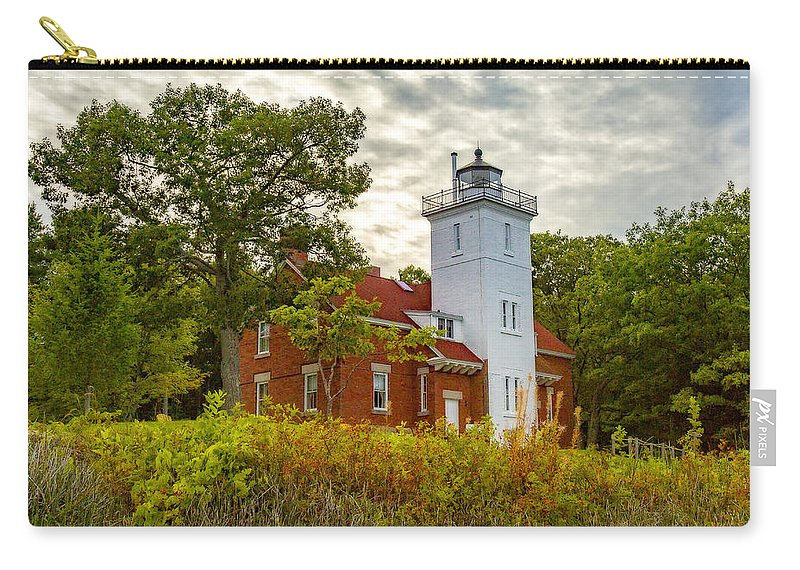 Forty Mile Point Carry-all Pouch featuring the photograph Forty Mile Point Lighthouse Lake Huron Lower Peninsilat Mi by Jack R Perry