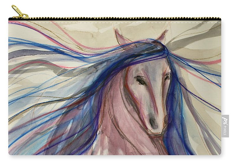 Dressage Dancing Horse Abstract Mixed Media Pirouette Equine Expression Extension Freedom Grand Prix Music Racing Racehorse Impulsion Lipizzaner Musical Freestyle Lightness Majestic Passage Piaffee Pura Raza Espanola Quarterhorse Thoroughbred Arabian Andalusian Balance Cadence Canter Dutch Warmblood Show Jumping Spanish Sporthorse Strength Submission Trakehner Transitions Westphalian Colorful Animal Whimsical Tempi Changes Gypsy Vanner Stallion Elasticity Eventing Equitation Equestrian Half-pass Carry-all Pouch featuring the mixed media Forward Motion by Jennifer Fosgate