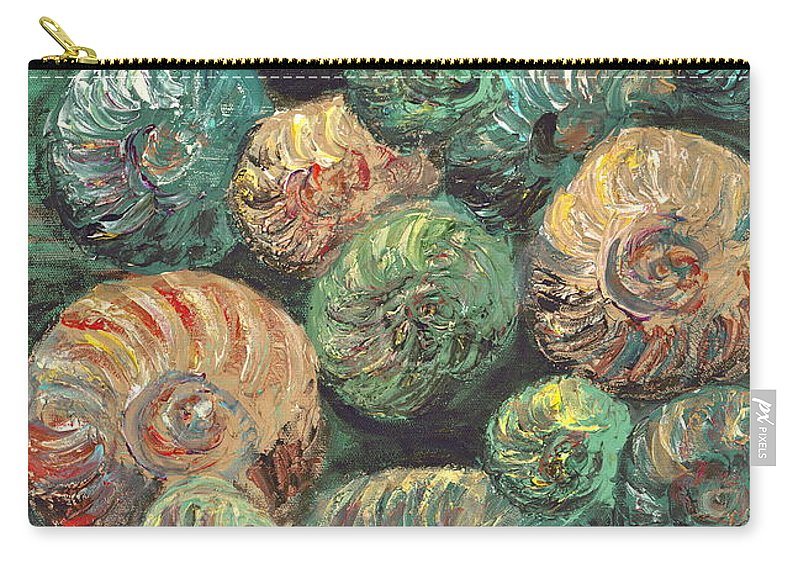 Shells Carry-all Pouch featuring the mixed media Fossil Shells by Nadine Rippelmeyer