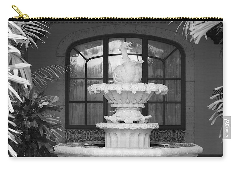 Architecture Carry-all Pouch featuring the photograph Fountian And Window by Rob Hans