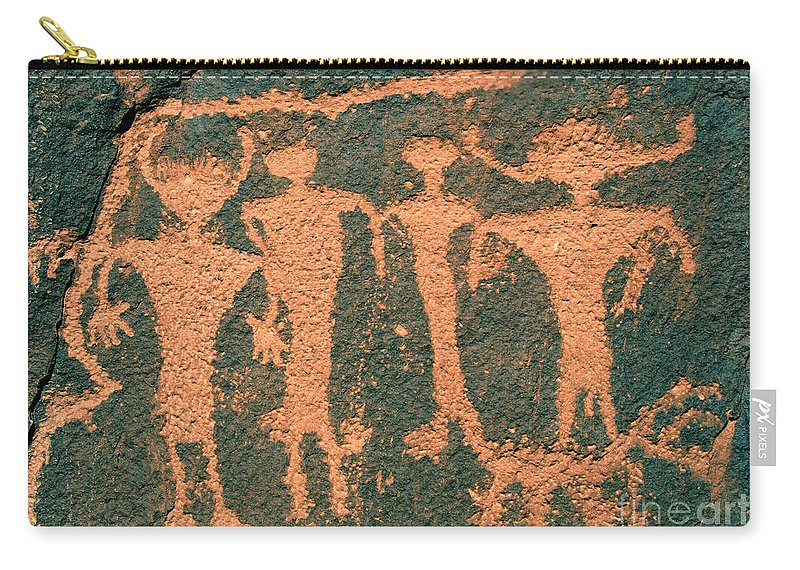 Petroglyphs Carry-all Pouch featuring the photograph Four Anasazi by David Lee Thompson