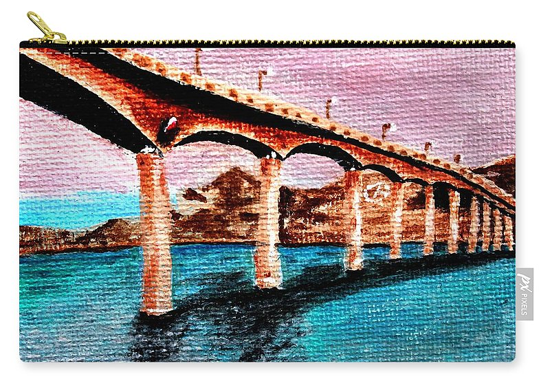 Bridge Carry-all Pouch featuring the painting Four Bears Bridge by Patty Vanberkom