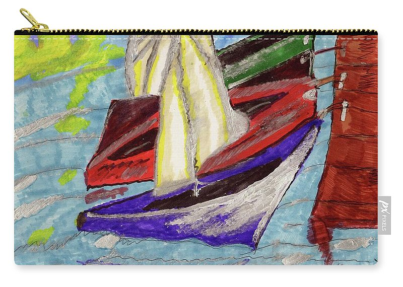 Four Boats In A Boat Slip Carry-all Pouch featuring the mixed media Four Boats by Elinor Helen Rakowski