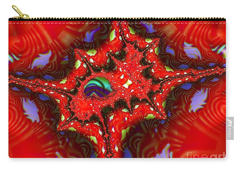 Four Corners Carry-all Pouch featuring the digital art Four Corners Seed Pod by Ron Bissett