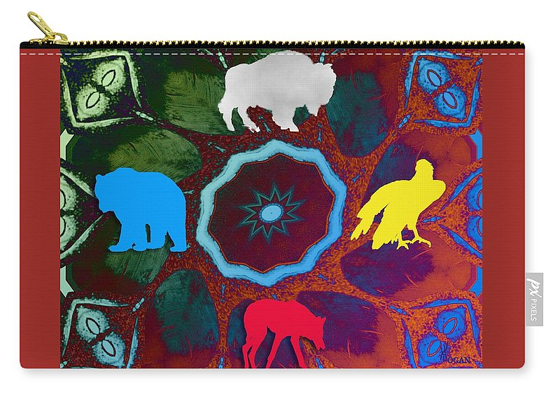 Wildlife Carry-all Pouch featuring the digital art Four Directions  -009 by Will Logan