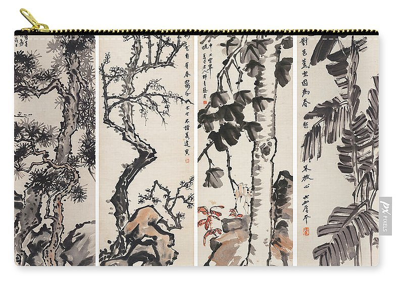 Zhang Daqian (10 May 1899 – 2 April 1983) Was One Of The Best-known And Most Prodigious Chinese Artists Of The Twentieth Century. Originally Known As A Guohua (traditionalist) Painter Carry-all Pouch featuring the painting Four Flowers Screen by Zhang Daqian