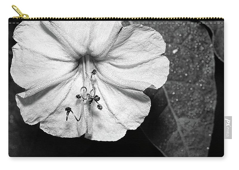 Flower Carry-all Pouch featuring the photograph Four O'clock - B-n-w by Christopher Holmes