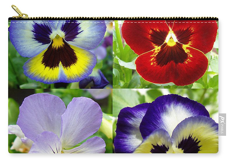 Pansy Carry-all Pouch featuring the photograph Four Pansies by Nancy Mueller