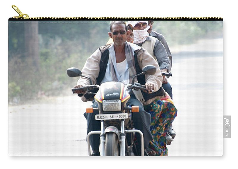 India Carry-all Pouch featuring the photograph Four People On A Motorbike by Ndp
