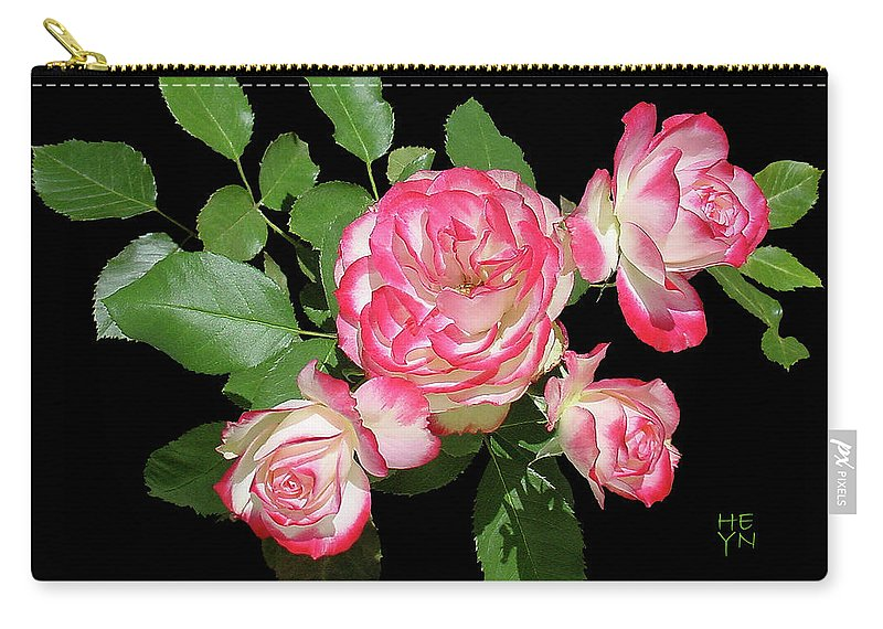 Cutout Carry-all Pouch featuring the photograph Four Roses Cutout by Shirley Heyn