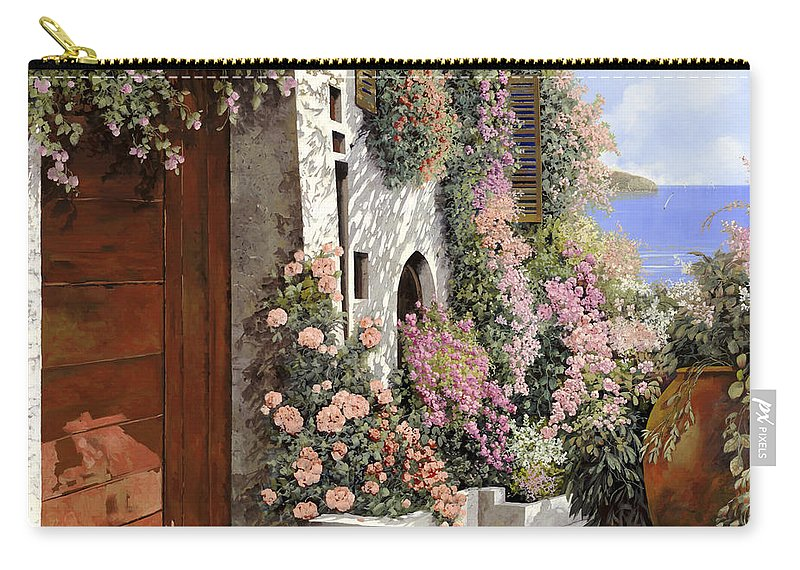 4 Seasons Carry-all Pouch featuring the painting four seasons- spring in Tuscany by Guido Borelli
