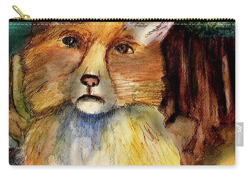 Fox Carry-all Pouch featuring the painting Fox by Cynthia Richards