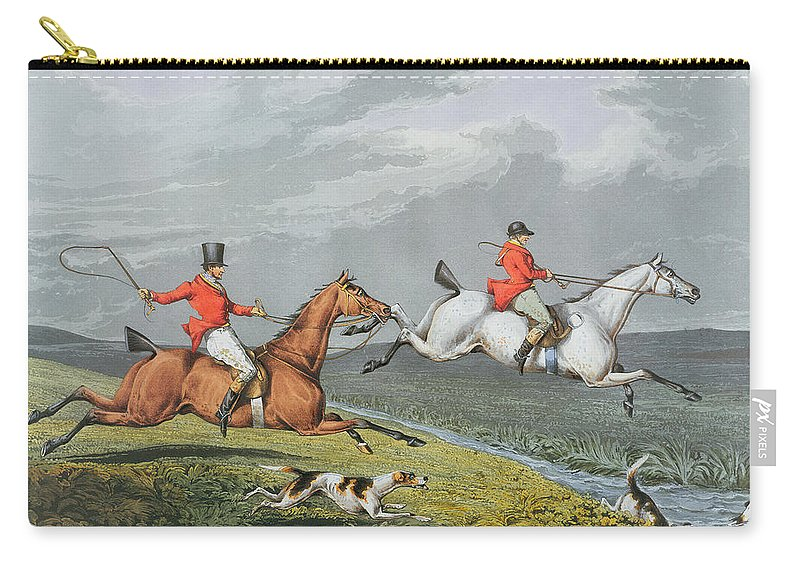 Fox Carry-all Pouch featuring the painting Fox Hunting - Full Cry by Charles Bentley