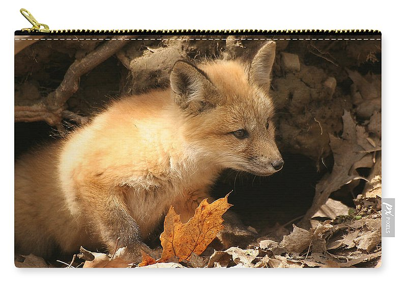 Red Fox Carry-all Pouch featuring the photograph Fox Kit At Entrance To Den by Doris Potter