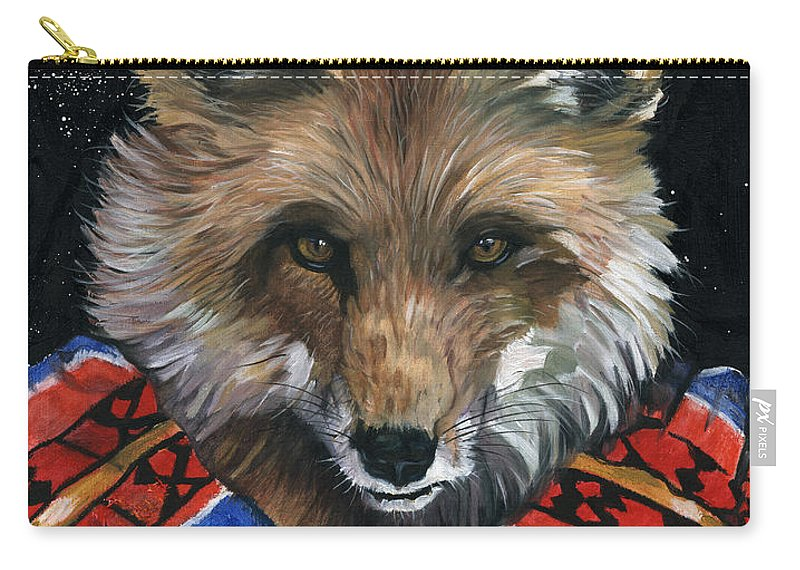 Fox Carry-all Pouch featuring the painting Fox Medicine by J W Baker