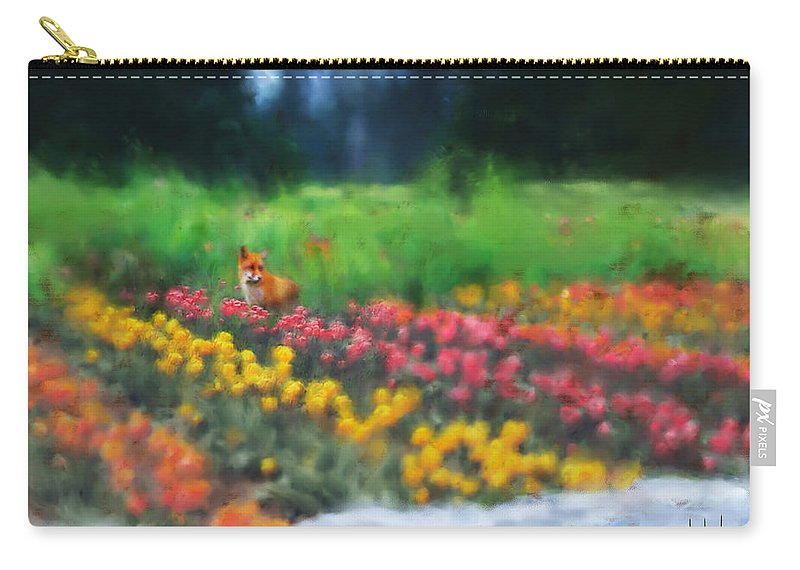 Fox Carry-all Pouch featuring the digital art Fox watching the Tulips by Stephen Lucas