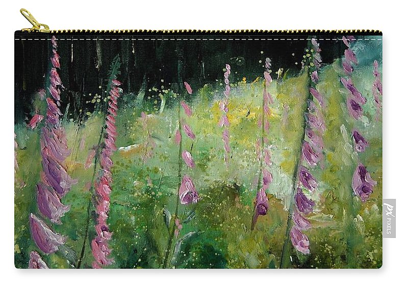 Flowers Carry-all Pouch featuring the painting Foxgloves by Pol Ledent