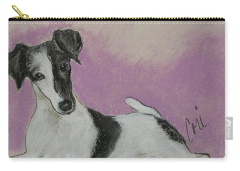 Dog Carry-all Pouch featuring the drawing Foxy by Cori Solomon
