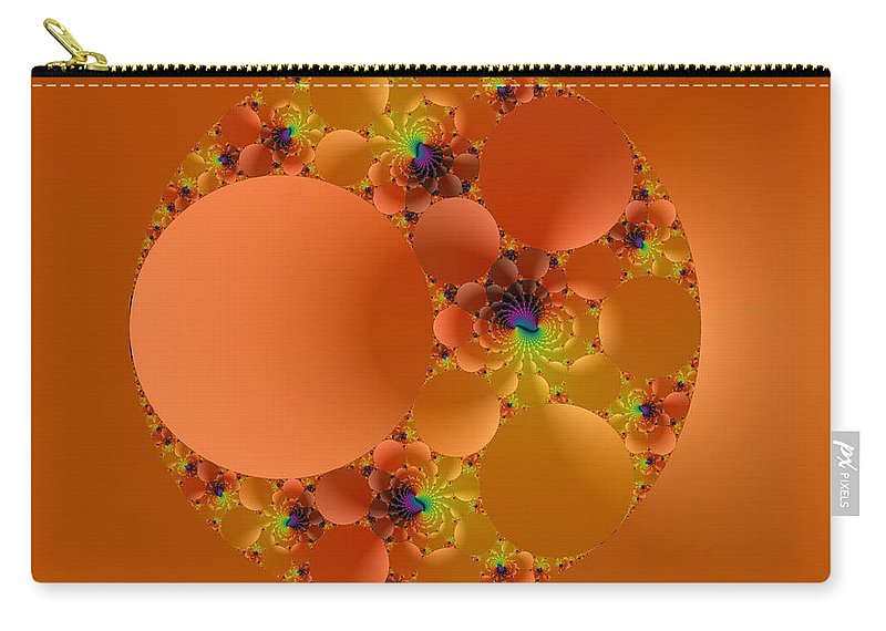 Orange Fractal Carry-all Pouch featuring the digital art Fractal 99 by Judi Suni Hall