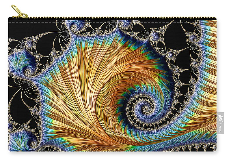Fractal Carry-all Pouch featuring the digital art Fractal Art - Blue And Gold by HH Photography of Florida