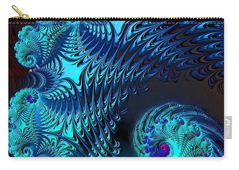 Fractal Carry-all Pouch featuring the digital art Fractal Art - Blue Wave by HH Photography of Florida