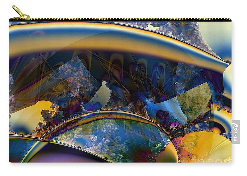 Boomerang Carry-all Pouch featuring the digital art Fractal Boomerangs And Peacock Feathers by Ron Bissett